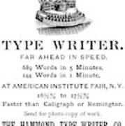 Hammond Typewriter, 1889 Poster