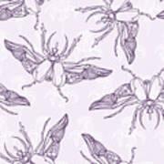 Hand Drawn Beetles Seamless Pattern Poster