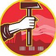 Hand Holding Hammer Factory Retro Poster