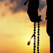 Hand Holding Rudraksha Beads Poster