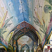 Hand Painted Church Interior Poster by Linda Phelps