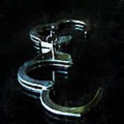 Handcuffs On Black Poster by Jill Battaglia