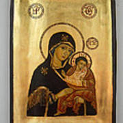 Handpainted Orthodox Holy Icon Madonna With Child Jesus Poster by Denise Clemenco
