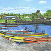 Hanga Roa Harbour Poster