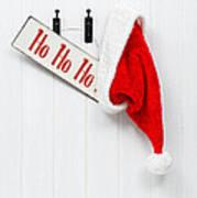 Hanging Santa Hat And Sign Poster by Amanda Elwell