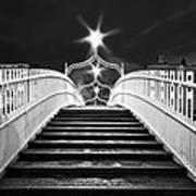 Ha'penny Bridge Steps - Dublin - Black And White Poster