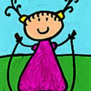 Happi Arte 7 - Girl On Jump Rope Art Poster by Sharon Cummings