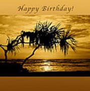 Happy Birthday Golden Sunrise Poster