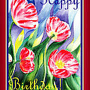 Happy Birthday Pink Poppies Poster