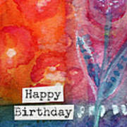 Happy Birthday- Watercolor Floral Card Poster