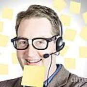 Happy Business Man Wearing Helpdesk Headset Poster