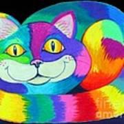 Happy Cat Dark Back Ground Poster