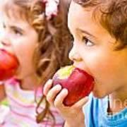 Happy Children Eating Apple Poster