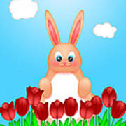 Happy Easter Bunny Rabbit On Field Of Tulips Flowers Poster