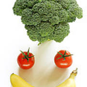 Happy Fruit And Vegetable Face Poster