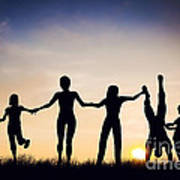 Happy Group Of People Friends Family Together Poster