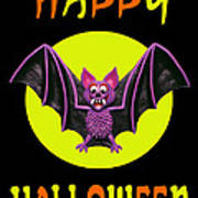 Happy Halloween Bat Poster