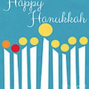 Happy Hanukkah Menorah Card Poster
