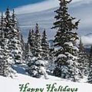 Happy Holidays - Winter Trees And Rising Clouds Poster