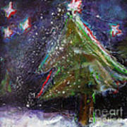 Happy Holidays Red And Blue Wishing Stars Poster by Johane Amirault