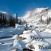 Happy Holidays Snowy Mountain Scene Poster