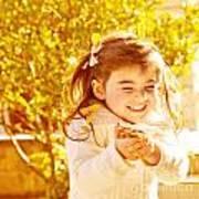 Happy Little Girl In Autumn Park Poster