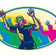 Happy Marathon Runner Running Oval Retro Poster by Aloysius Patrimonio
