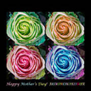 Happy Mothers Day Hugs Kisses And Colorful Rose Spirals Poster