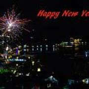 Happy New Year Greeting Card - Fireworks Display Poster