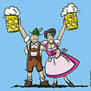 Happy Oktoberfest Couple Beer Poster