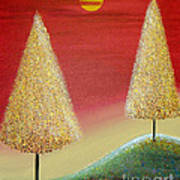 Happy Trees With Red Sky Poster