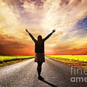 Happy Woman Standing On Long Road At Sunset Poster