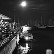 Harbor Boat At Night Poster