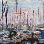 Harbor In Early Morning Poster