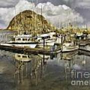 Harbor Reflection Impasto Poster