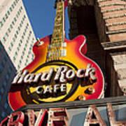 Hard Rock Cafe Guitar Sign In Philadelphia Poster