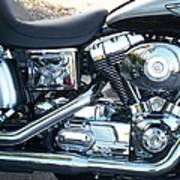 Harley Black And Silver Sideview Poster