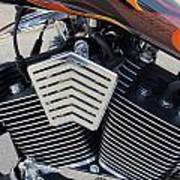 Harley Close-up Orange Flame Poster