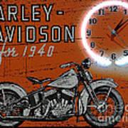 Harley Davidson 1940s Sign Poster