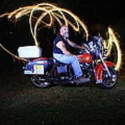 Harley Davidson Light Painting Poster