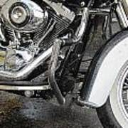 Harley Engine Close-up Rain 1 Poster