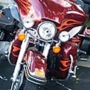 Harley Red W Orange Flames Poster