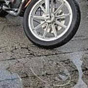 Harley Reflection In Rain  Poster