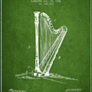 Harp Music Instrument Patent From 1901 - Green Poster