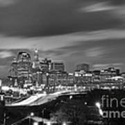 Hartford Skyline At Night Bw Black And White Poster