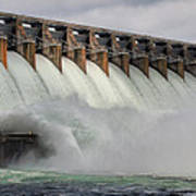 Hartwell Dam With Flood Gates Open Poster