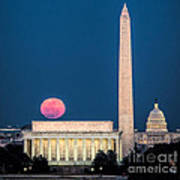 Harvest Moon Over Lincoln Memorial Poster