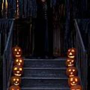 Haunted House With Lit Pumpkins And Demon Poster