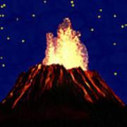 Hawaian Vulcano At Night Poster