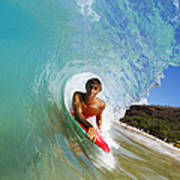 Hawaii, Maui, Makena - Big Beach, Boogie Boarder Riding Barrel Of Beautiful Wave Along Shore. Poster